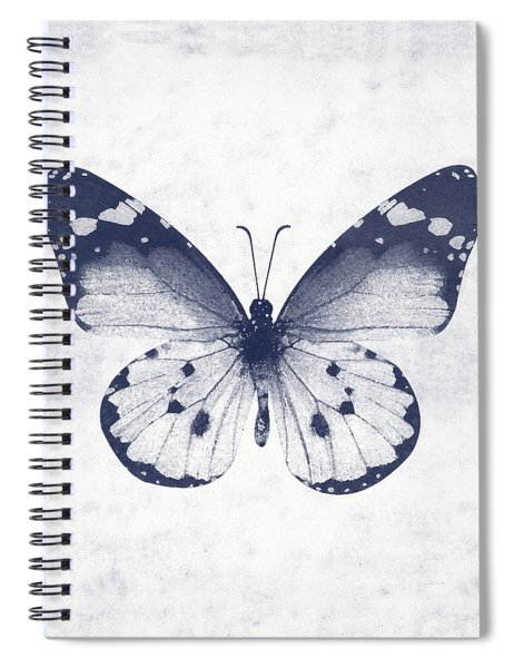 Indigo And White Butterfly 1- Art By Linda Woods Spiral Notebook