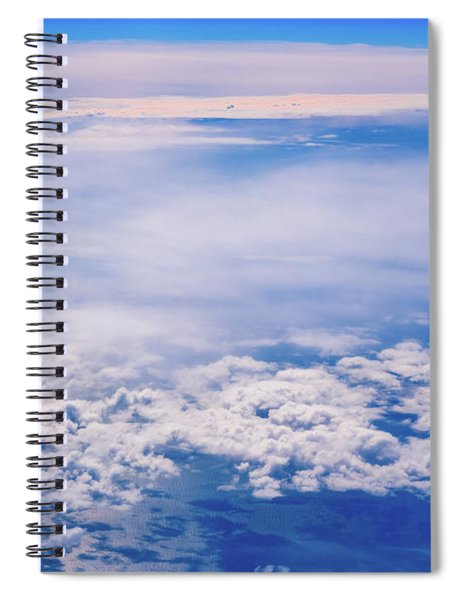 Intense Blue Sky With White Clouds And Plane Crossing It, Seen From Above In Another Plane. Spiral Notebook