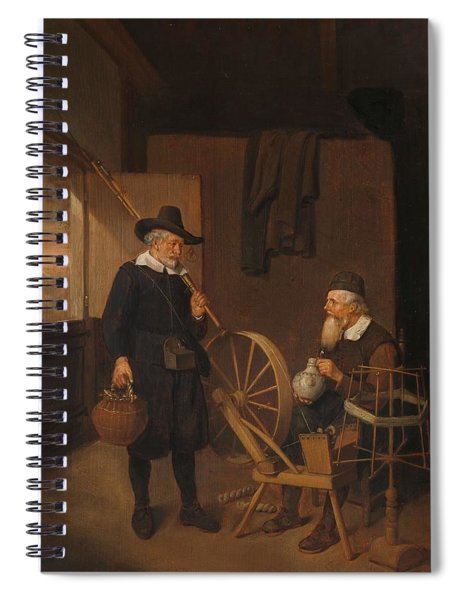 Interior With Fisherman And Man Beside A Bobbin And Spool. Spiral Notebook
