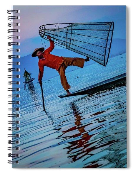 Intha Fisherman On Inle Lake Spiral Notebook