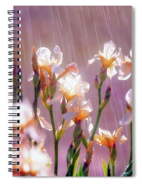 Iris In Rain Spiral Notebook