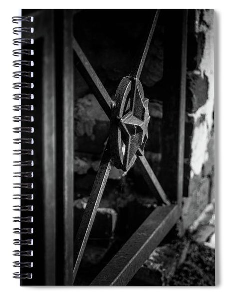 Spiral Notebook featuring the photograph Iron Gate In Bw by Doug Camara