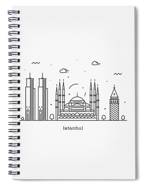 Istanbul Cityscape Travel Poster Spiral Notebook