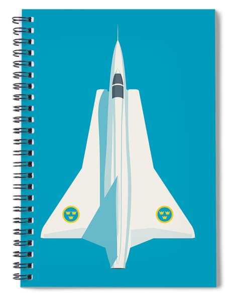 J35 Draken Swedish Air Force Jet Aircraft - Cyan Spiral Notebook