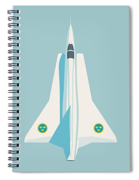 J35 Draken Swedish Air Force Jet Aircraft - Sky Spiral Notebook