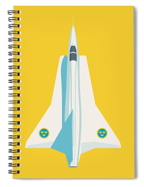 J35 Draken Swedish Air Force Jet Aircraft - Yellow Spiral Notebook