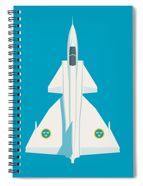 J37 Viggen Swedish Air Force Fighter Jet Aircraft - Blue Spiral Notebook
