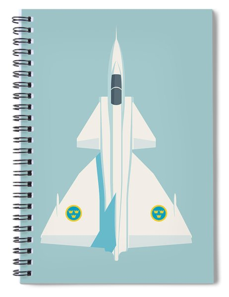 J37 Viggen Swedish Air Force Fighter Jet Aircraft - Sky Spiral Notebook