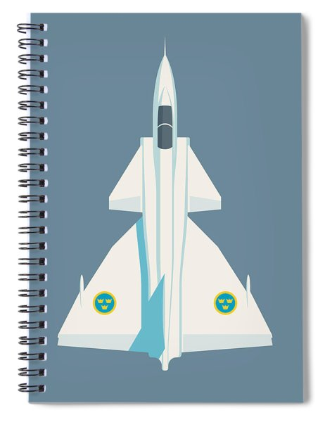 J37 Viggen Swedish Air Force Fighter Jet Aircraft - Slate Spiral Notebook