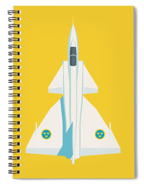 J37 Viggen Swedish Air Force Fighter Jet Aircraft - Yellow Spiral Notebook
