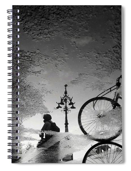 Jaipur Street Scene In Water Reflections Spiral Notebook