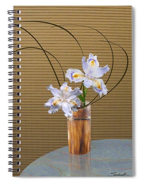 Japonica Iris In Bamboo Vase Spiral Notebook