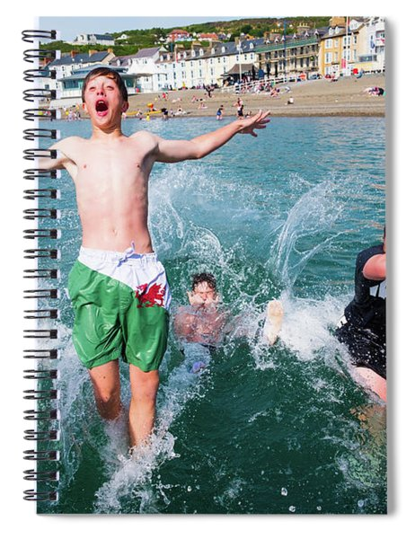 Jetty Jumping Into The Sea Spiral Notebook