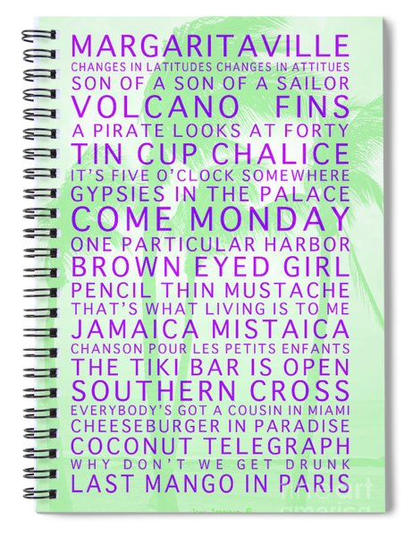 Jimmy Buffett Songs We Know By Heart Purple Font Light Green Palms Spiral Notebook