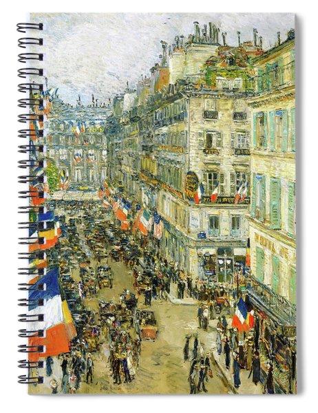 July Fourteenth, Rue Daunou - Digital Remastered Edition Spiral Notebook