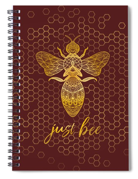 Just Bee - Geometric Zen Bee Meditating Over Honeycomb Hive  Spiral Notebook