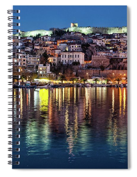 Kavala Town At Night Spiral Notebook