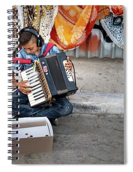 Kid Playing Accordeon Spiral Notebook