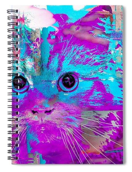 Kitty Collage Blue Spiral Notebook