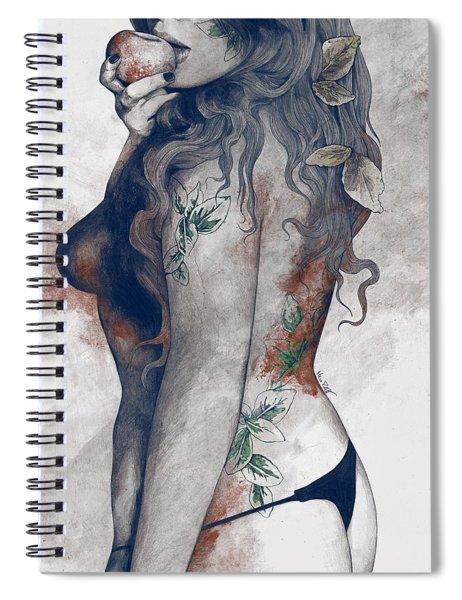Koi No Yokan - Blue Rust - Erotic Drawing, Sexy Tattoo Girl In Thong Biting An Apple Spiral Notebook
