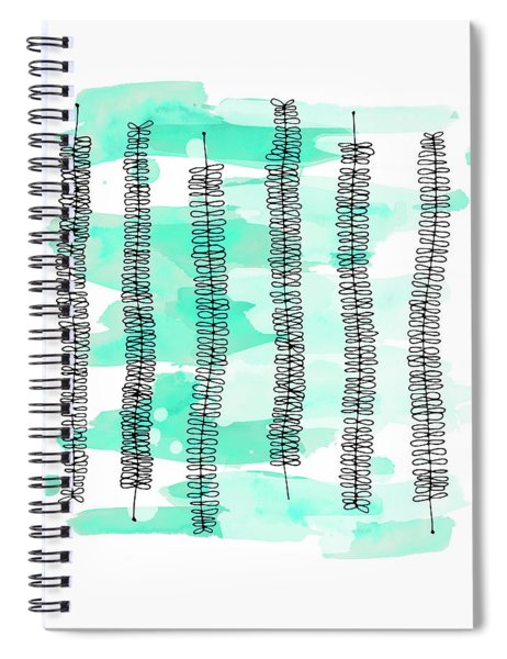 Kowhai Branches In Mint Green Watercolor Spiral Notebook