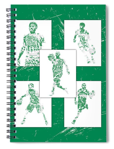 Kyrie Irving Boston Celtics Panel Pixel Art 1 Spiral Notebook