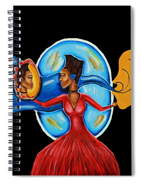 African Goddess Lady In Red Afrocentric Art Mother Earth Black Woman Art Spiral Notebook