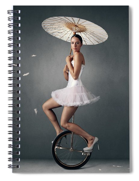 Lady On A Unicycle Spiral Notebook