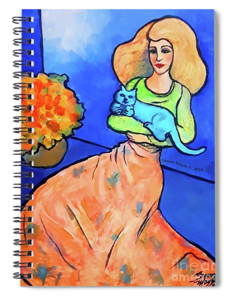 Lady With Blue Cat Spiral Notebook