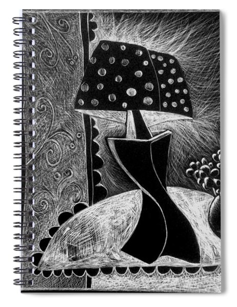 Lamp And Flowers. Spiral Notebook