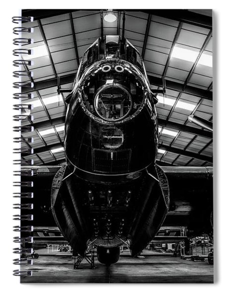 Spiral Notebook featuring the photograph Lancaster Bomber Just Jane Bnw by Scott Lyons