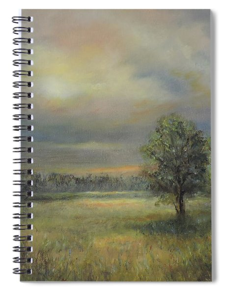 Landscape Of A Meadow With Sun And Trees Spiral Notebook