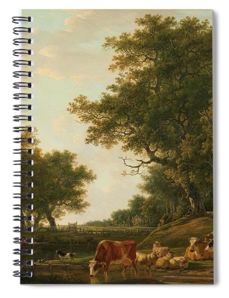 Landscape With Peasants With Their Cattle And Anglers On The Water. Spiral Notebook