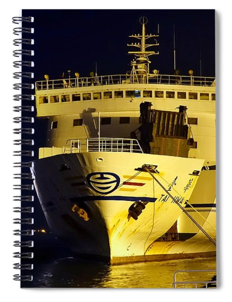 Large Ferry Docked In Port By Night Spiral Notebook