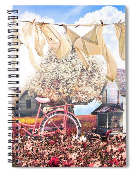 Laundry Day In Soft Vintage Colors Spiral Notebook