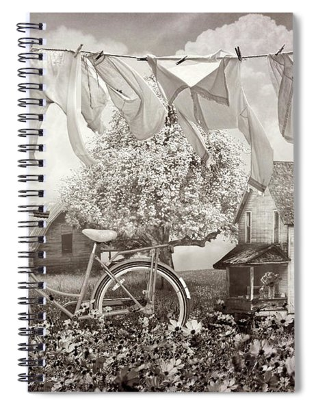 Laundry Day In Vintage Sepia Spiral Notebook