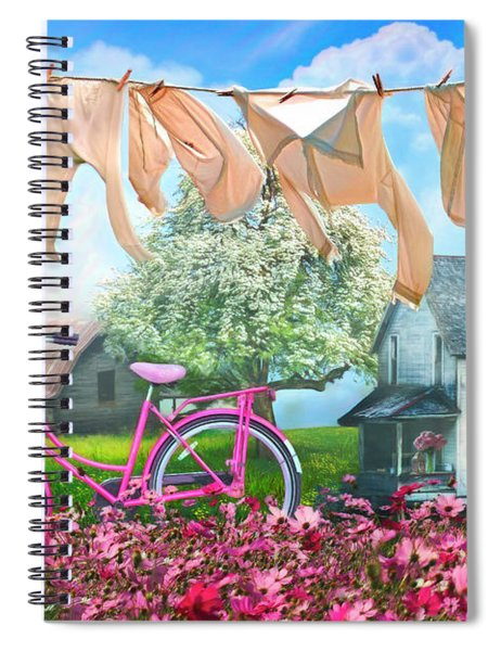 Laundry Day Watercolors Painting  Spiral Notebook