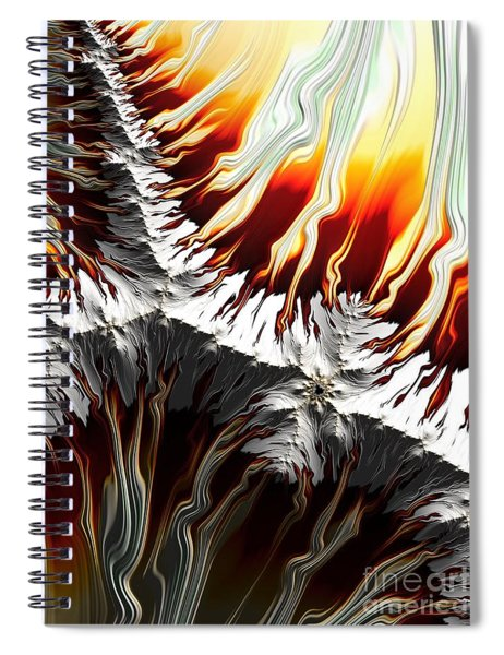 Lava Fire And Ice Fractal Abstract Spiral Notebook by Rose Santuci-Sofranko