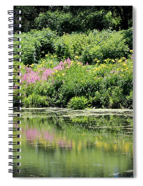 Lavender And Gold Reflections At Chicago Botanical Gardens Spiral Notebook