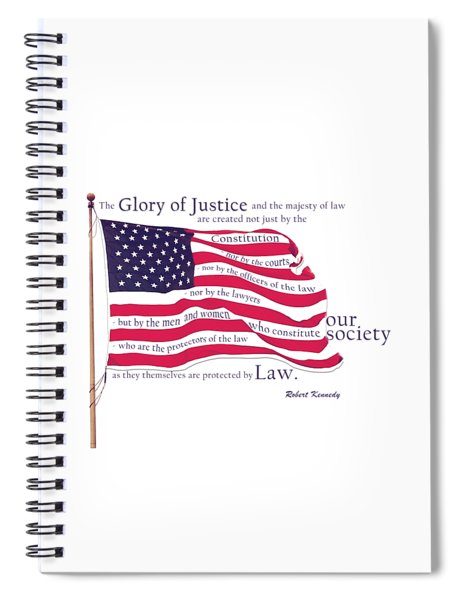 Law And Society American Flag With Robert Kennedy Quote Spiral Notebook