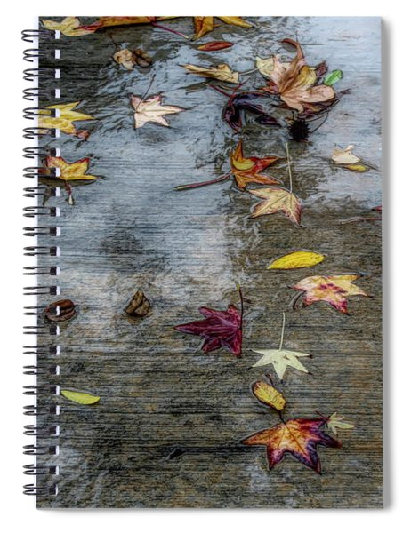 Spiral Notebook featuring the photograph Leaves In The Rain by Alison Frank