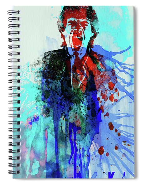 Legendary Mick Jagger Watercolor Spiral Notebook
