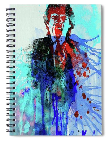 Legendary Mick Jagger Watercolor Spiral Notebook