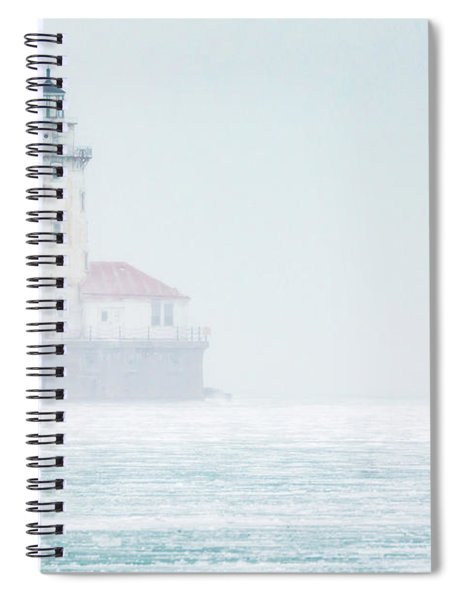 Lighthouse In The Mist Spiral Notebook