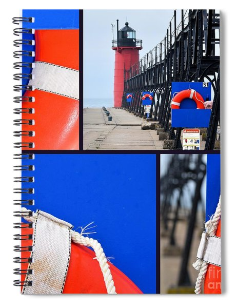 Lighthouse Lifesaver Collage Spiral Notebook