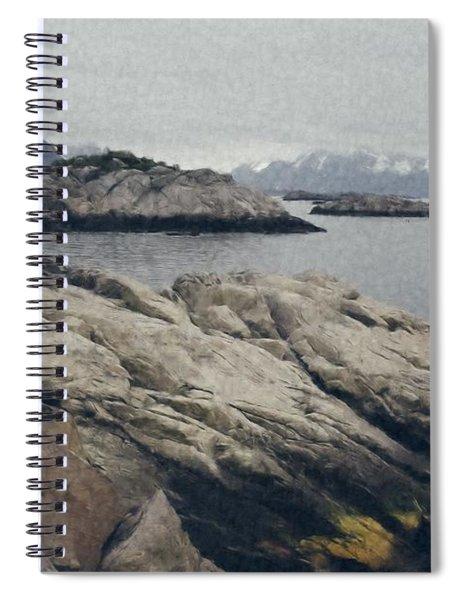 Lighthouse On Rocks Near The Atlantic Coast, Digital Art Oil Pai Spiral Notebook