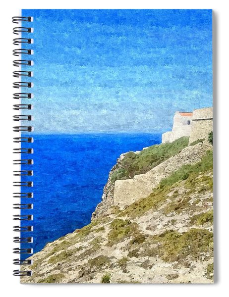 Lighthouse On Top Of A Cliff Overlooking The Blue Ocean On A Sunny Day, Painted In Oil On Canvas. Spiral Notebook