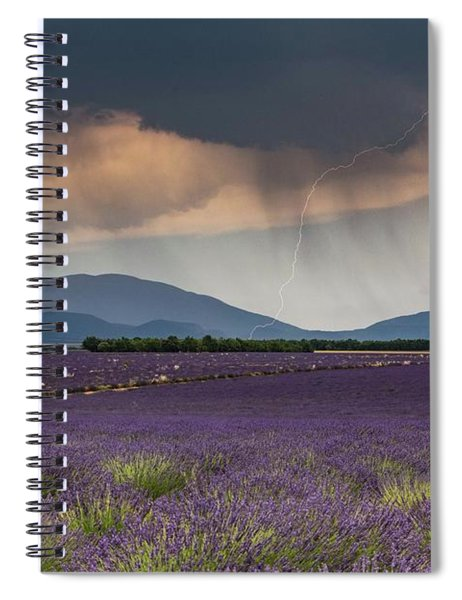 Lightning Over Lavender Field Spiral Notebook