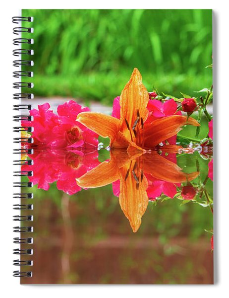 Lilies And Roses Reflection Spiral Notebook