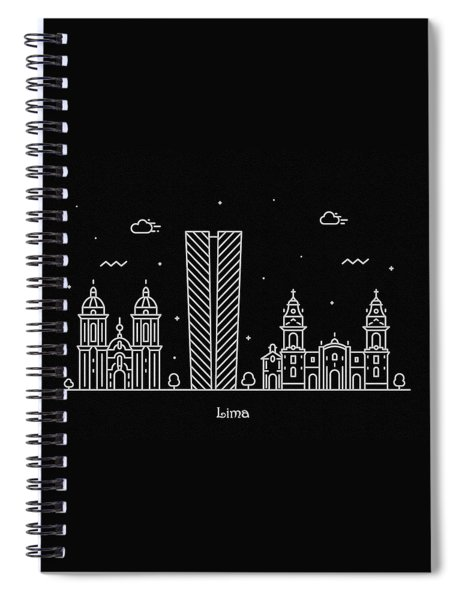 Lima Skyline Travel Poster Spiral Notebook